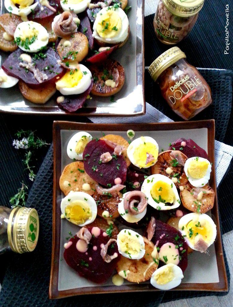 Daikon salad con uova e acciughe arrotolate ricetta gourmet