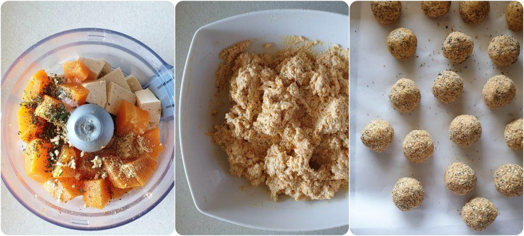 Polpette veggie di tofu e zucca cotte al forno preparazione polpette