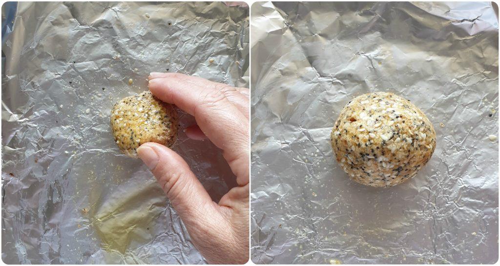 Polpette veggie di tofu e zucca cotte al forno pronti a infornareforno preparazione polpette