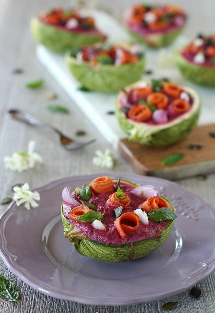 Zucchine veggie ripiene al tofu e barbabietola light