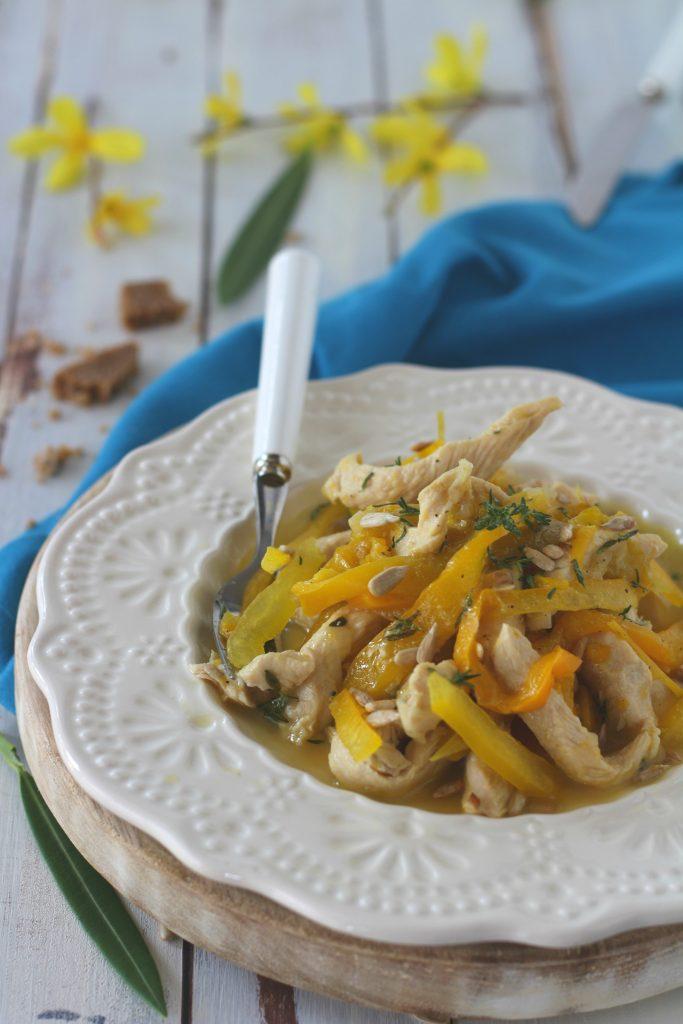 pollo peperoni zenzero e semi di girasole light veloce