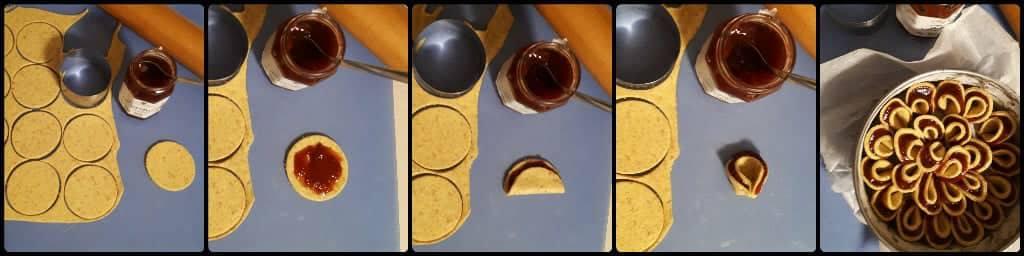 Torta fiore di sfoglia light ricotta e marmellata collage