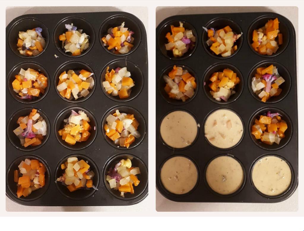 Muffin veg alla farina di ceci e verdure colorate preparazione