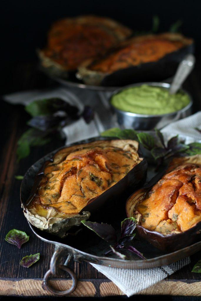 melanzane ripiene di farfrittata al pomodoro ricetta vegana
