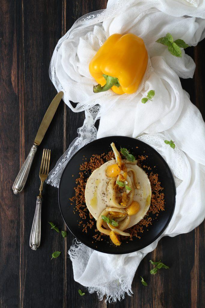 Anelli di totano in padella con cannellini e peperoni gialli ricetta light