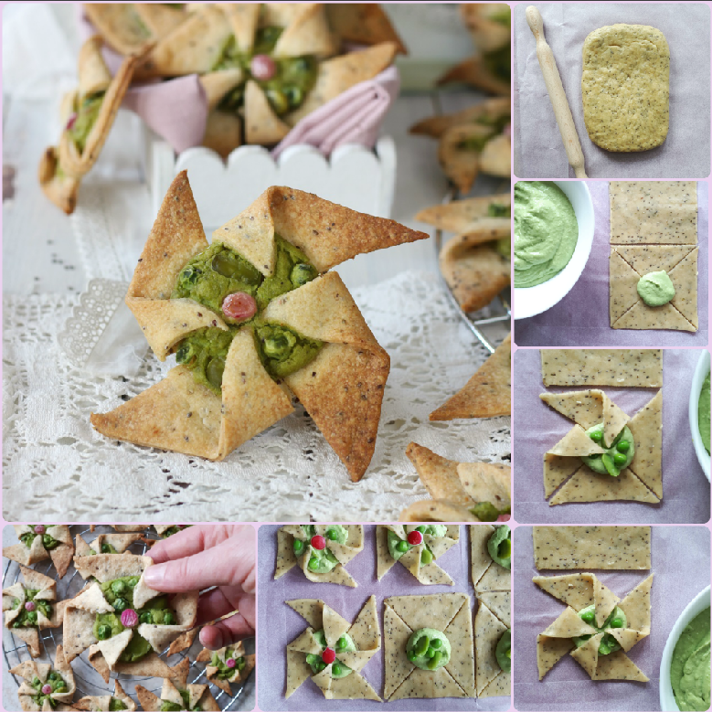Girandole salate con frolla alla chia preparazione