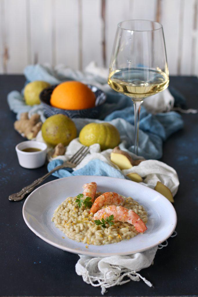 Risotto agrumi zenzero e gamberi argentini mantecato con olio