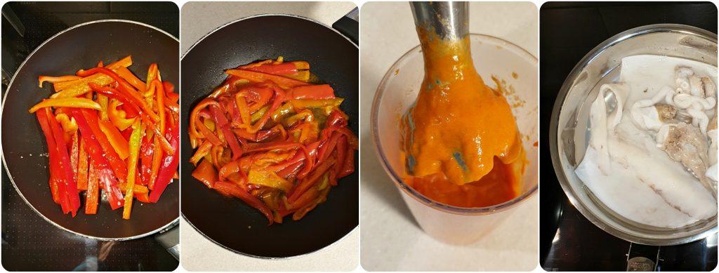 Risotto seppia peperoni e gelatina al pompelmo preparazione