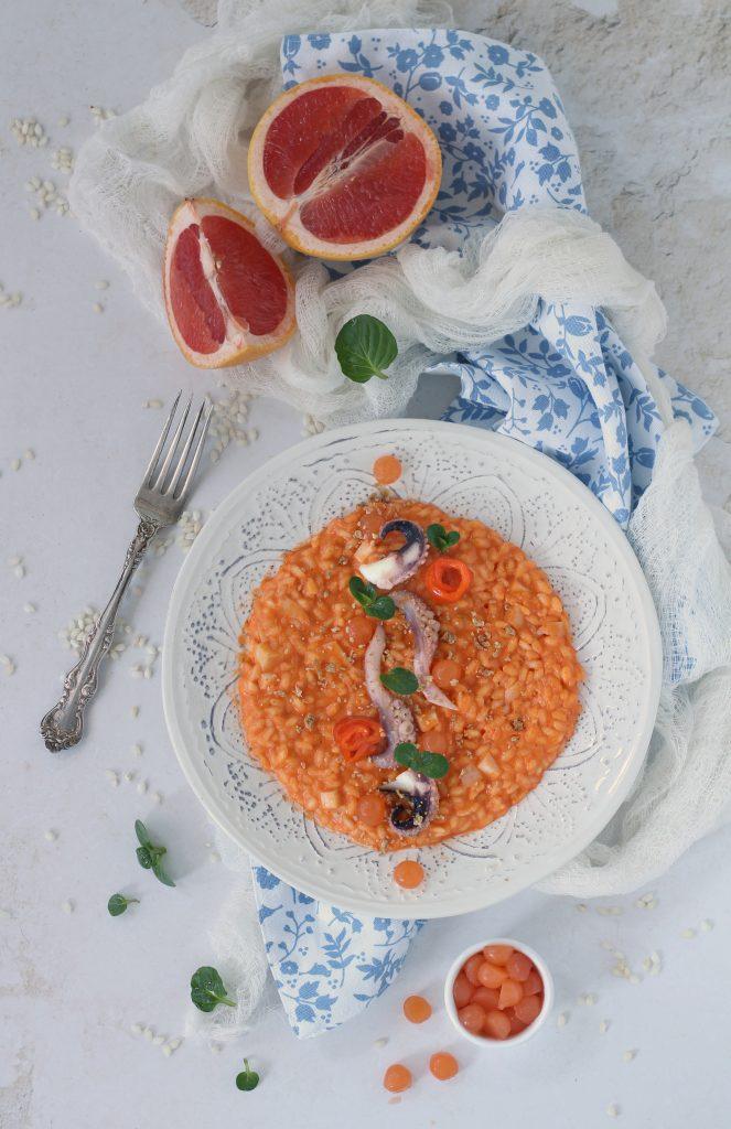 Risotto seppia peperoni e gelatina al pompelmo senza burro