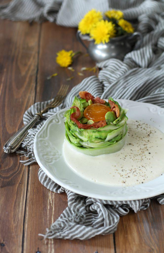 Antipasto alla carbonara con fave e asparagi carbonaraday papillamonella