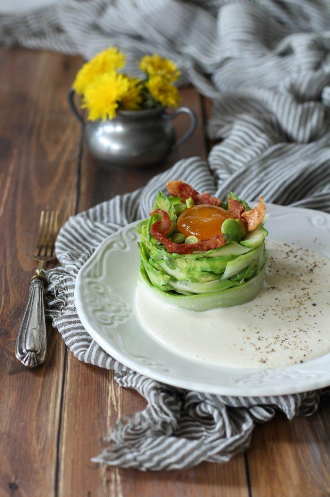 Antipasto alla carbonara con fave e asparagi carbonarachallange welovepasta