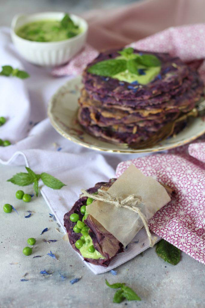 Pancakes senza uova con piselli e carote viola RICETTA VELOCE