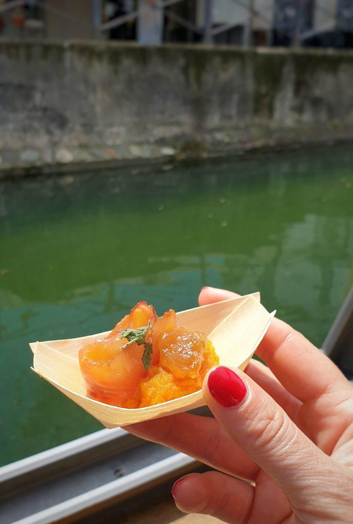 Trota affumicata con zucca, mostarda di zucca e tamarindo fabiana scarica parco del ticino
