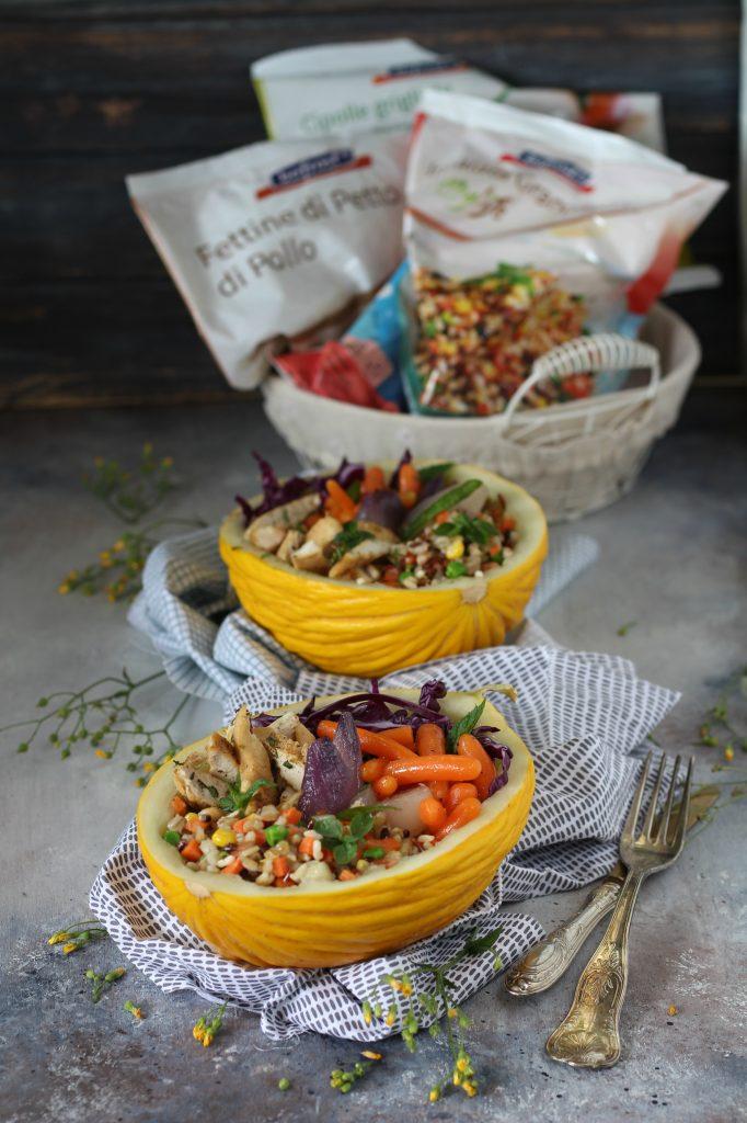 Melone bowl con pollo marinato cereali e verdure bofrost