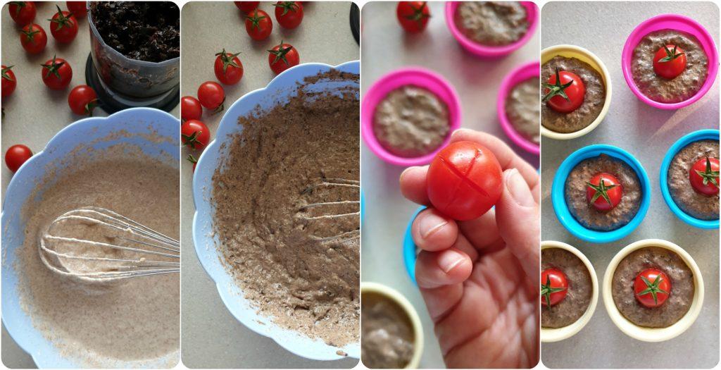 Muffin veg olive nere e pomodorini stampi silicone