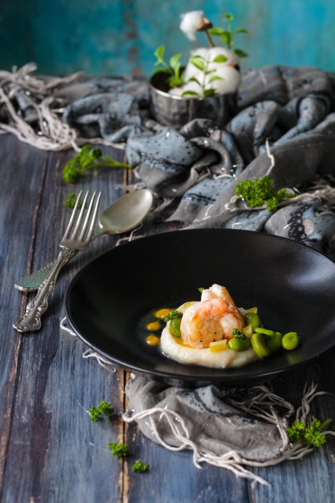 Scampi con cavolfiore fave e limone ricetta gourmet