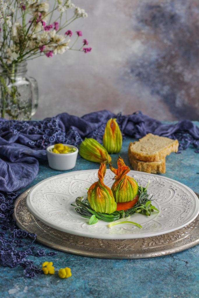 Fiori di zucca ripieni al forno vegetariani facili