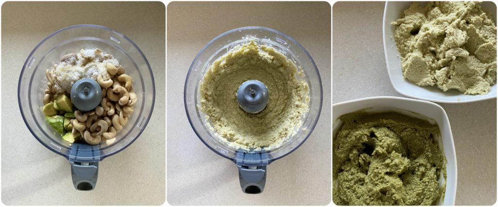 Tortine vegan senza cottura con avocado crema al tè matcha