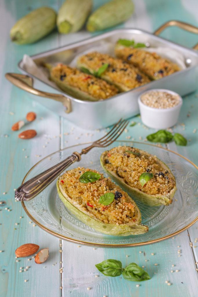 Zucchine al forno ripiene con quinoa ricetta senza glutine