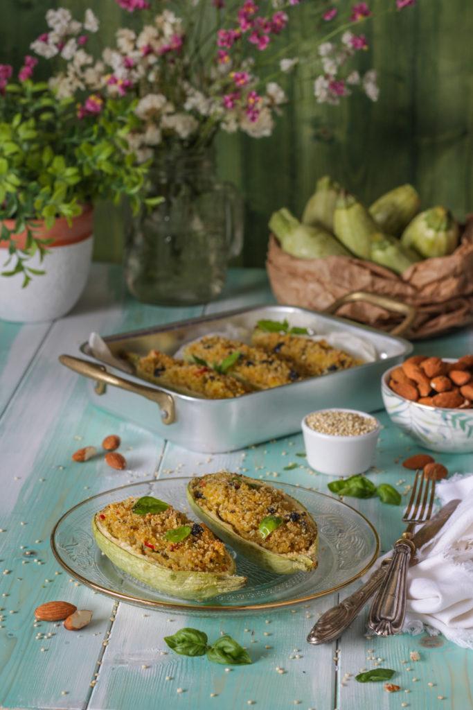 Zucchine al forno ripiene con quinoa ricetta light