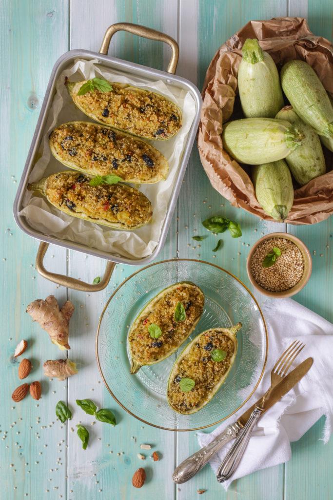 Zucchine al forno ripiene con quinoa ricetta facile