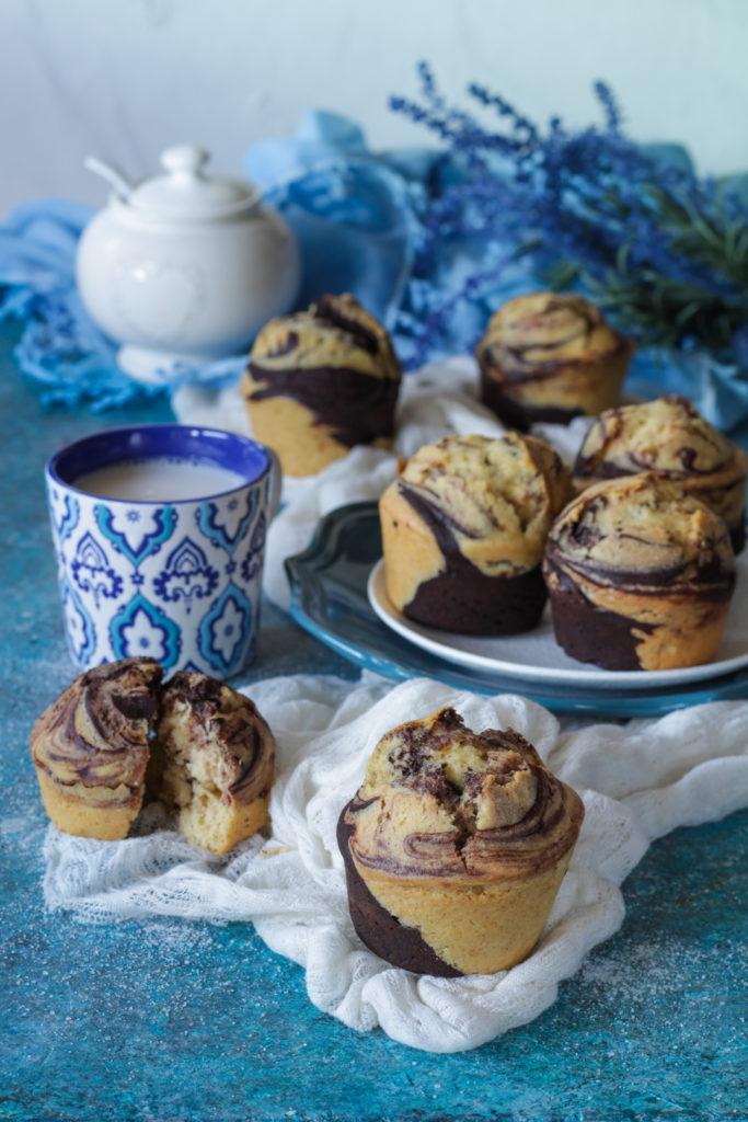 Muffin marmorizzati con vaniglia e cacao senza lattosio facili e veloci