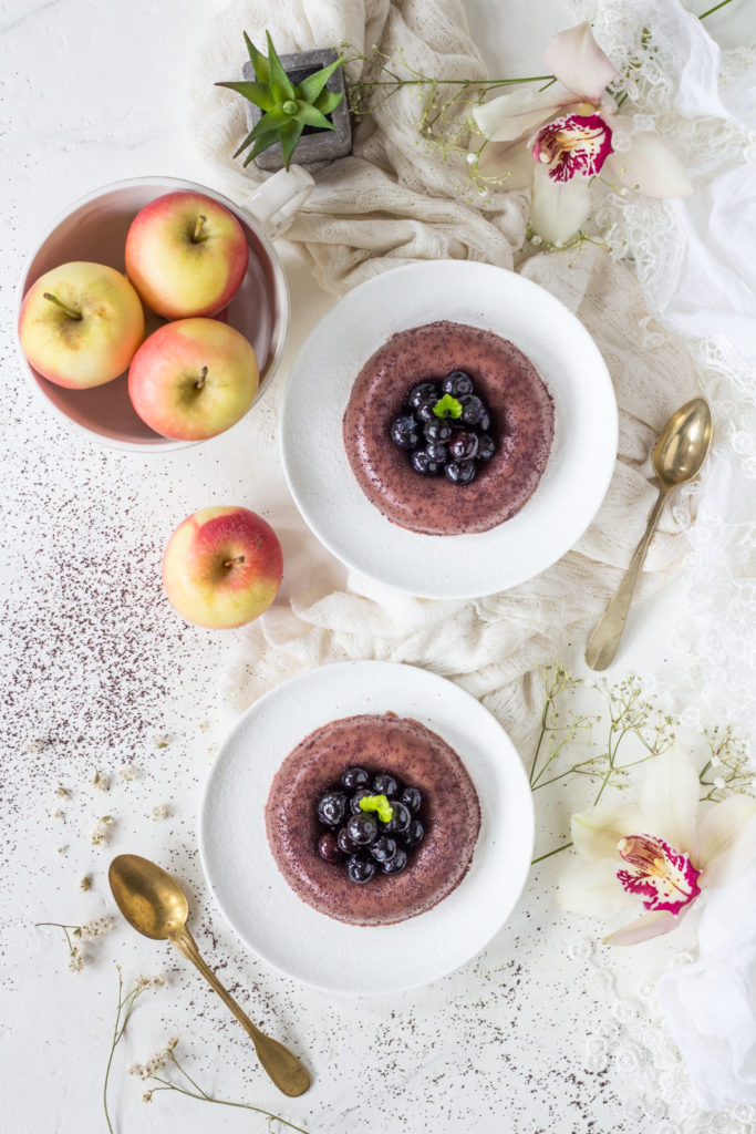 Budino veg alla mela acai e mirtilli facile agar agar