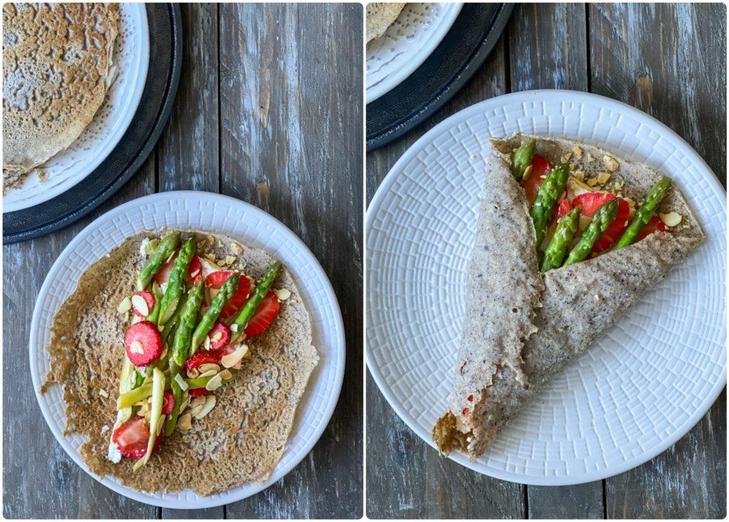 Crepes salate al grano saraceno con asparagi e fragole