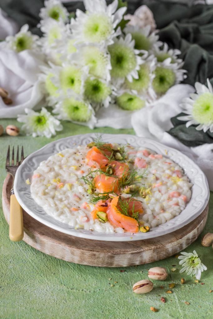 Risotto alla creme fraiche con finocchi e salmone