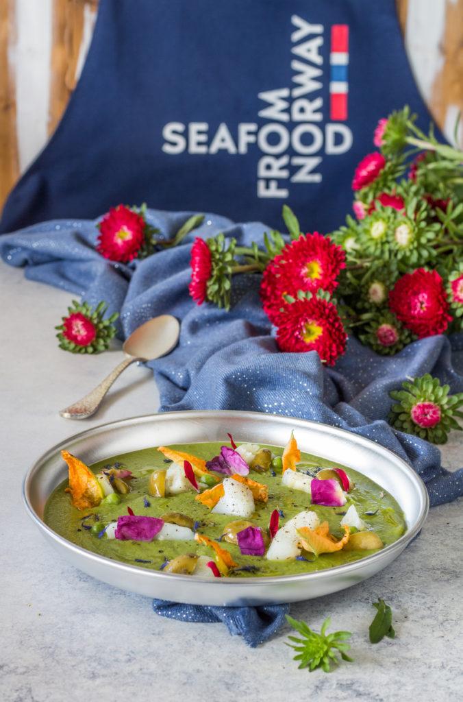 Stoccafisso su crema di piselli e zucchine SEAFOOD FROM NORWAY